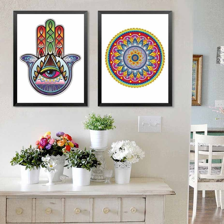 37 Inspirational Hamsa Wall Art Inspiration Of Bohemian Wall Decals intended for Popular Bohemian Wall Art