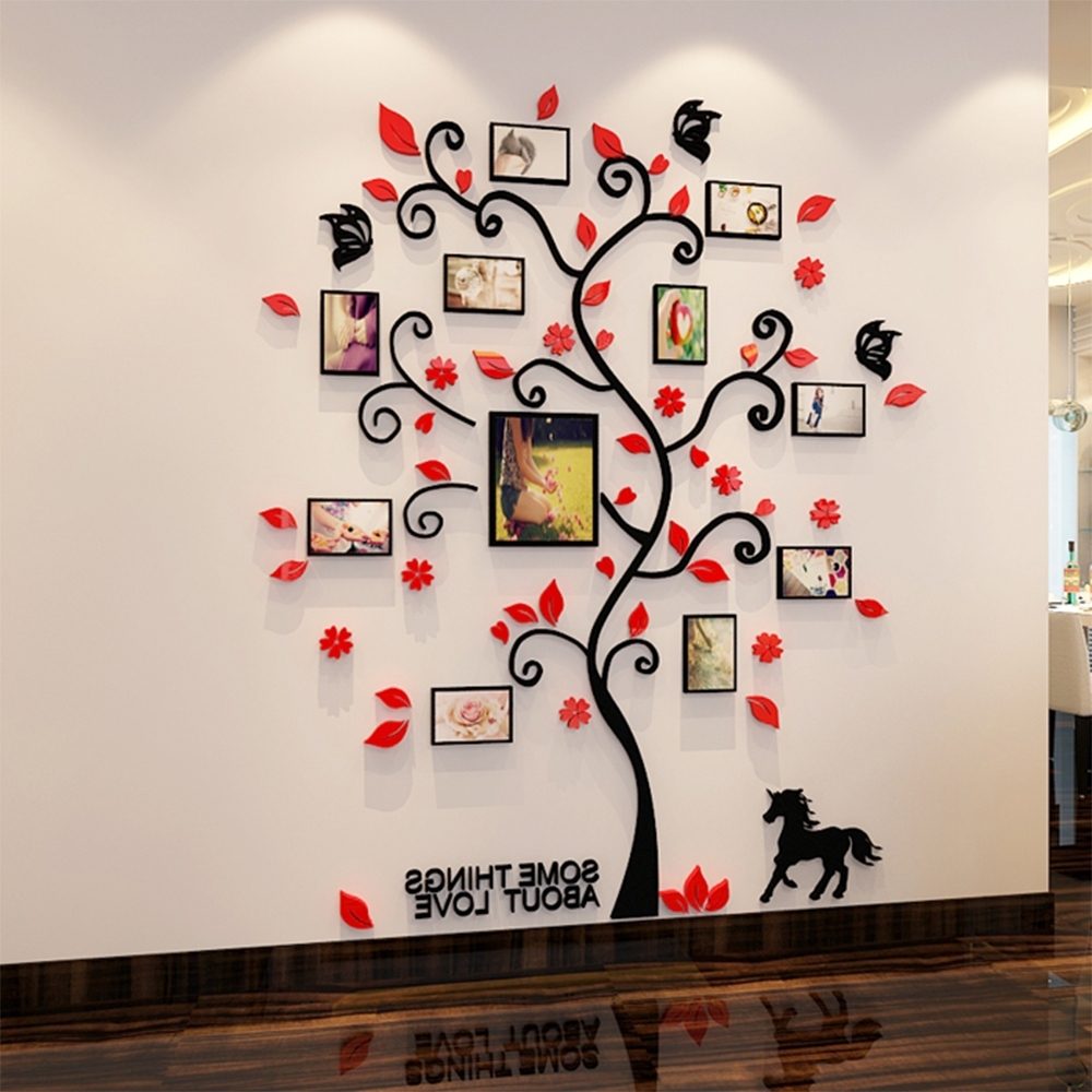 3D Acrylic Family Tree Wall Stickers With Photo Frame Living Room in Latest Family Tree Wall Art