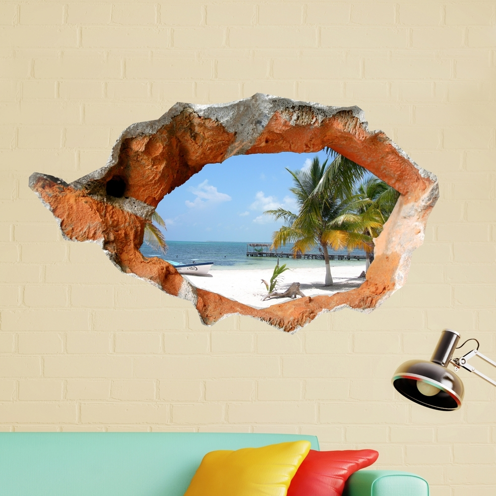 3D Beach Wall Decals 38 Inch Removable Sea Wall Art Stickers Home intended for Well known Beach Wall Art