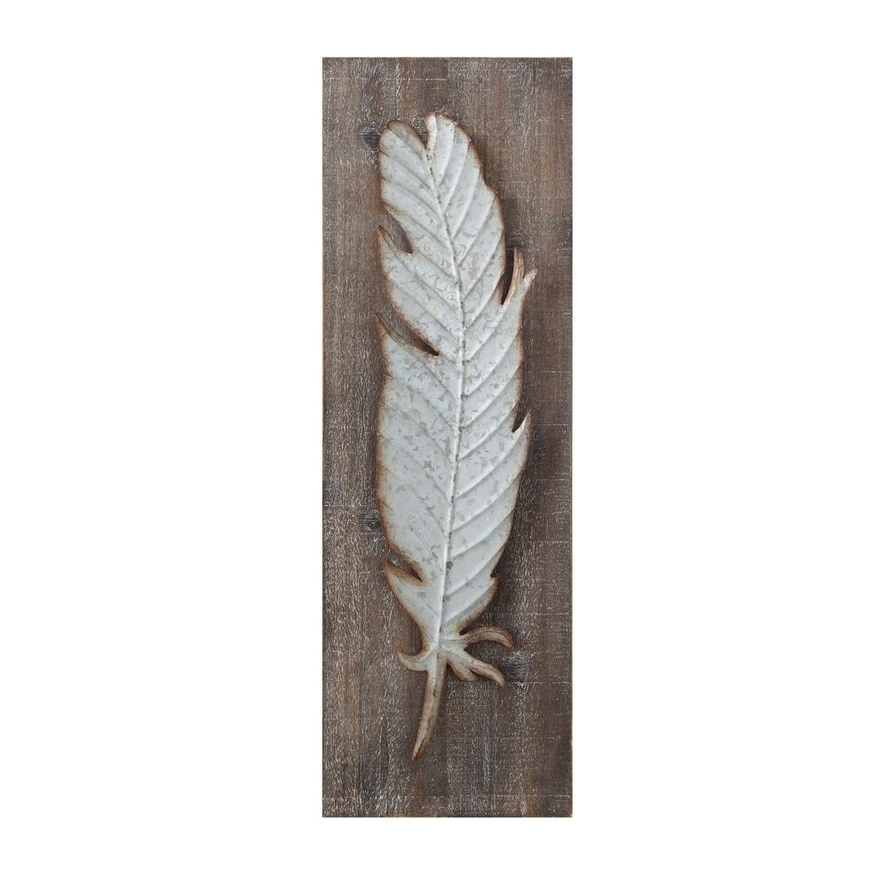 3R Studios Metal Feather Wood And Metal Wall Sculpture-Da5884 - The in 2018 Feather Wall Art