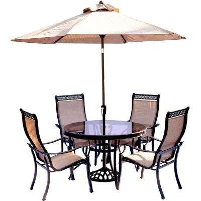 4 5 Person – Umbrella Base – Glass – Patio Dining Sets – Patio Within Most Recently Released Patio Table And Chairs With Umbrellas (View 8 of 15)