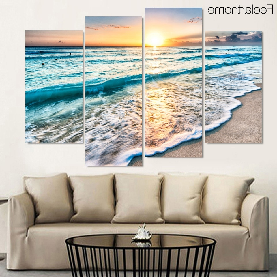 4 Panel Free Shipping Seascape Sunset Beach Sand Print Painting On For Favorite Beach Wall Art (Gallery 3 of 15)
