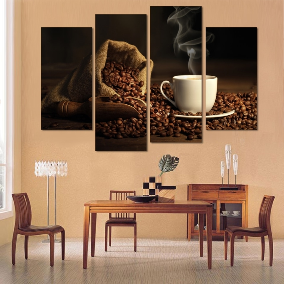4 Panels Modern Printed Coffee Canvas Art Painting Modular Pictures For Well Liked Kitchen Canvas Wall Art Decors (Gallery 11 of 15)