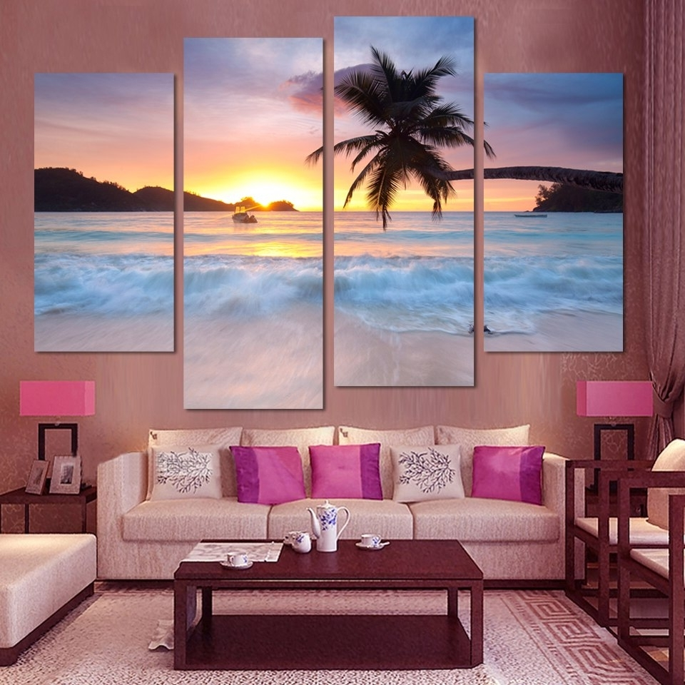 4 Pcs Ocean Sea Wall Art Modular Pictures Sunset Yellow Modern For Best And Newest Ocean Wall Art (Gallery 4 of 15)