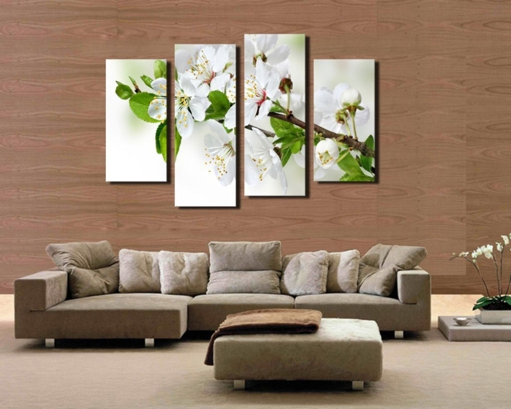 4 Pcs Popular Hd Modern Wall Painting White And Green Flowers Home in Most Current Popular Wall Art