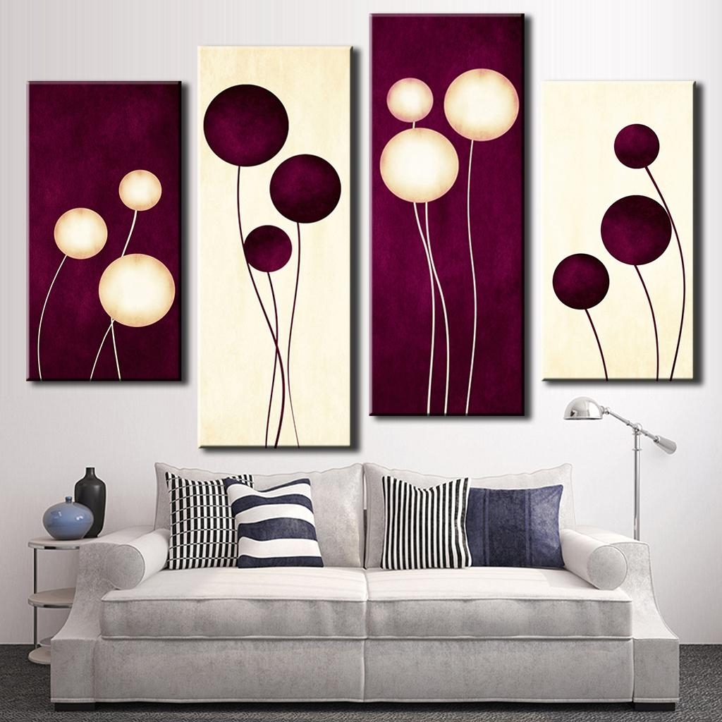 4 Pcs/set Abstract Wall Art Simple Purple White Circles Balloon With Regard To Most Popular Abstract Oil Painting Wall Art (View 2 of 15)