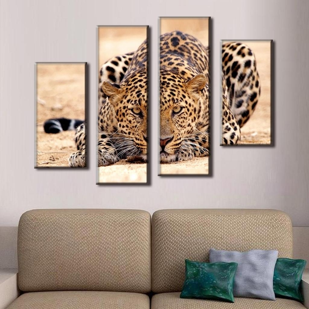 4 Pcs/set Excellent Large Canvas Paintings Animal Wall Art Picture For Most Recent Large Contemporary Wall Art (Gallery 8 of 15)