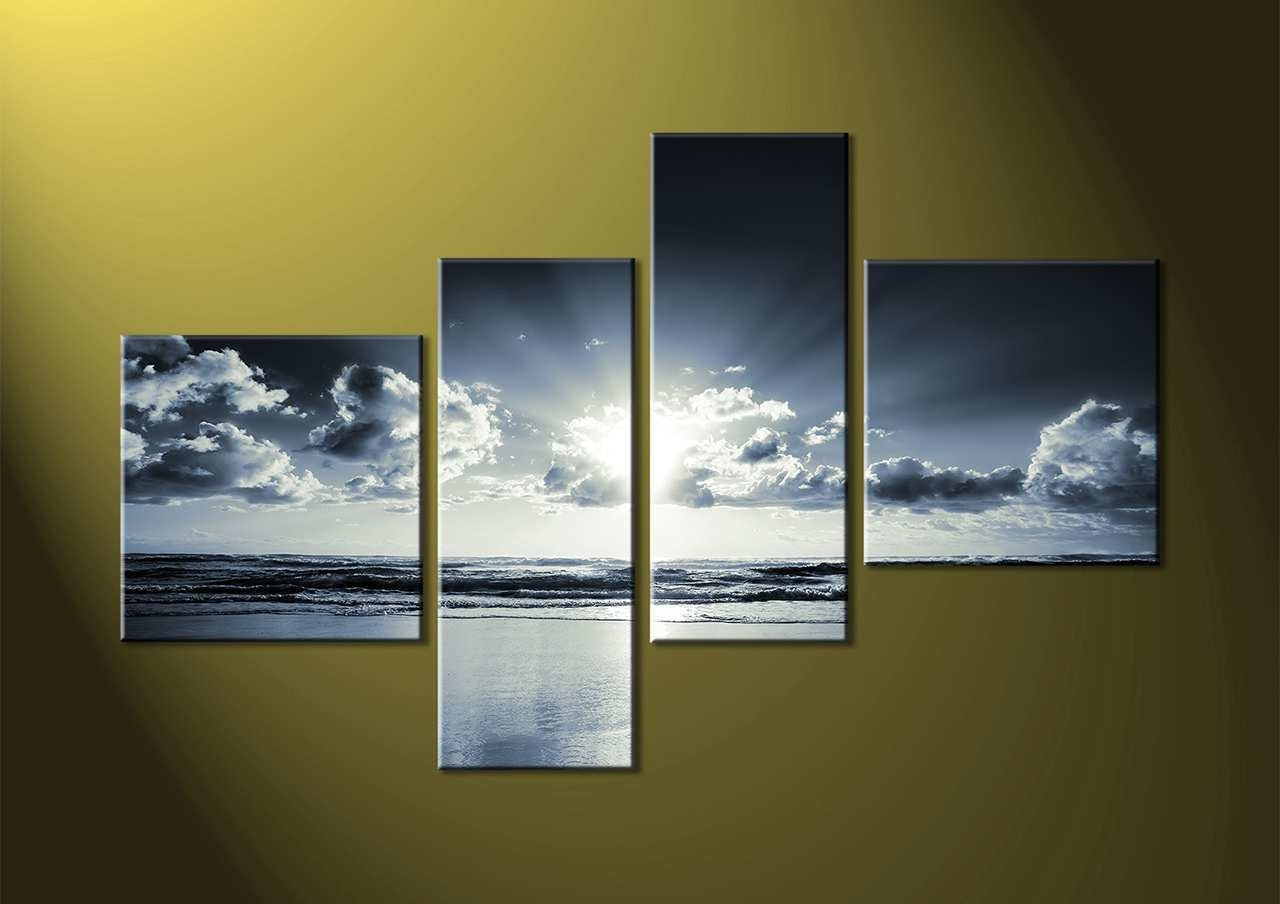 4 Piece Canvas Art Lovely 4 Piece Black And White Canvas Ocean Inside Current 4 Piece Wall Art (View 4 of 15)