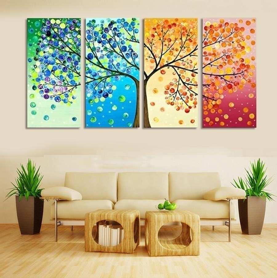 4 Piece Wall Art Pertaining To Trendy 2018 Frameless Colourful Leaf Trees Canvas Painting Wall Art Spray (Gallery 7 of 15)
