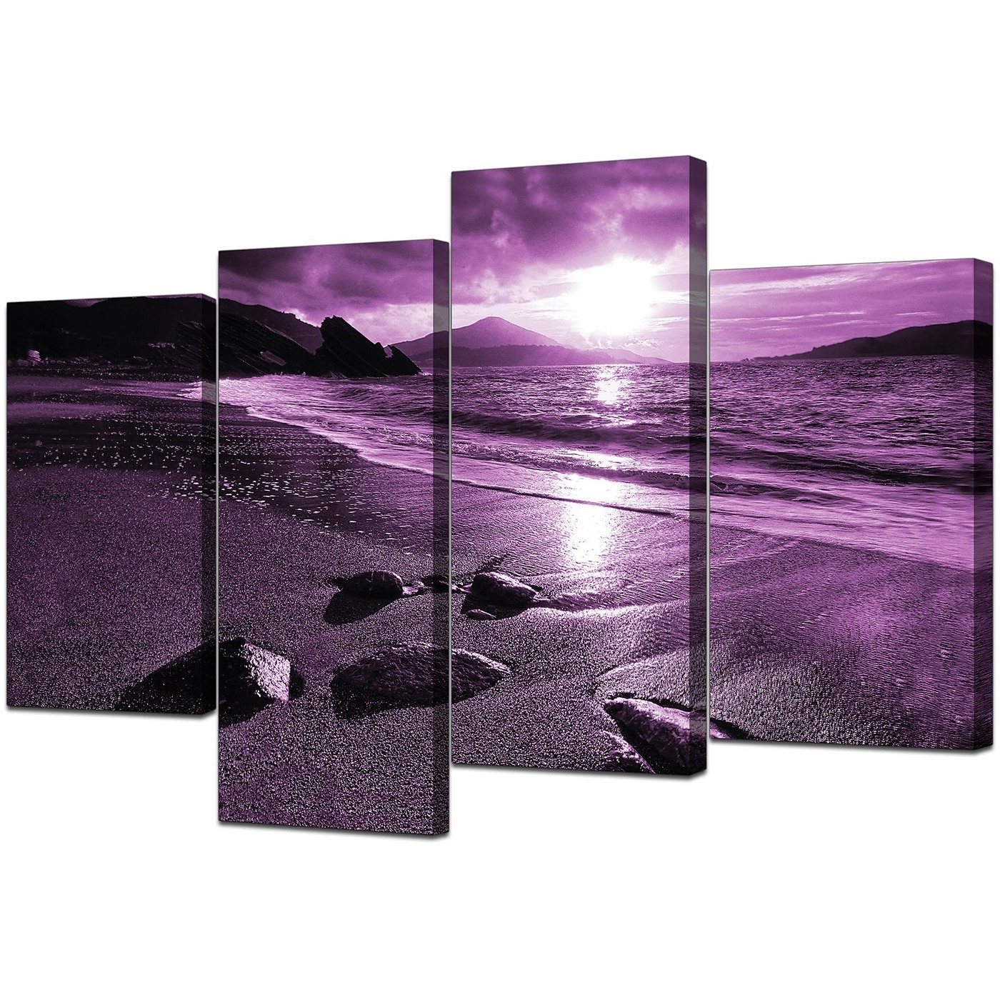 4 Piece Wall Art With Regard To Most Recently Released Canvas Prints Of Sunset In Purple For Your Living Room (Gallery 14 of 15)