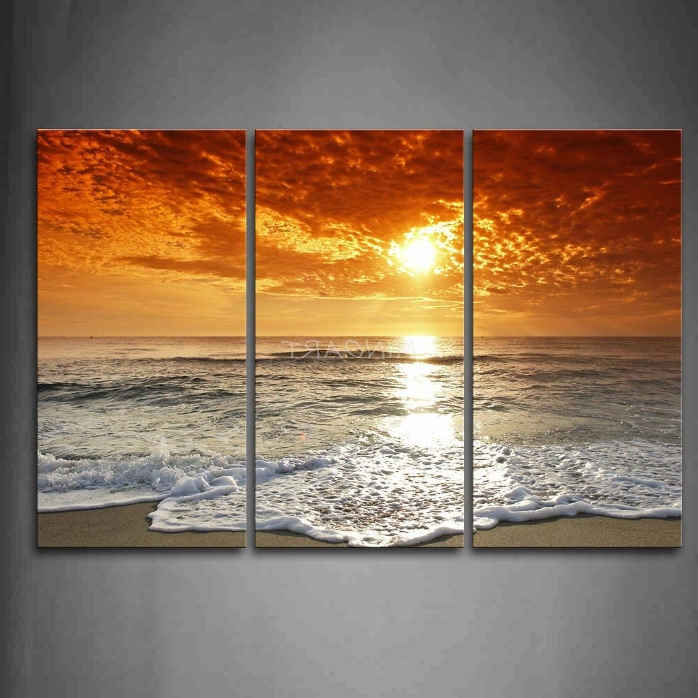 4 Piece Wall Art With Well Known 3 Piece Wall Art Painting Sunrise On The Beach Picture Print On (Gallery 4 of 15)