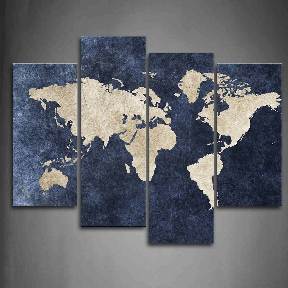 [%4 Piece World Map Canvas Wall Art100% Hand Painted Oil Painting In Favorite World Map For Wall Art|World Map For Wall Art Pertaining To Most Current 4 Piece World Map Canvas Wall Art100% Hand Painted Oil Painting|Famous World Map For Wall Art Pertaining To 4 Piece World Map Canvas Wall Art100% Hand Painted Oil Painting|Well Known 4 Piece World Map Canvas Wall Art100% Hand Painted Oil Painting Regarding World Map For Wall Art%] (View 12 of 15)