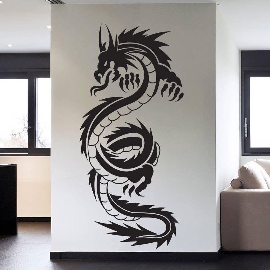 45X95Cm Tribal Tattoo Classic Chinese Dragon Wall Decal Sticker with regard to Best and Newest Dragon Wall Art