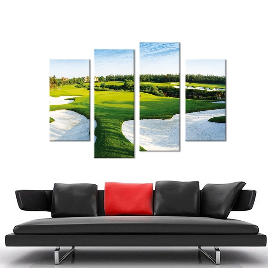 4Pcs A Beautiful Golf Course Wall Painting Print On Canvas For Home Pertaining To Most Current Golf Canvas Wall Art (Gallery 2 of 15)