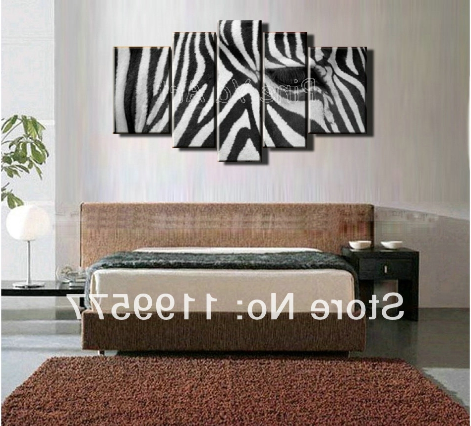 5 Muti Piece Modern Abstract Wall Art Handmade Black White Zebra Pertaining To Current Zebra Canvas Wall Art (View 1 of 15)