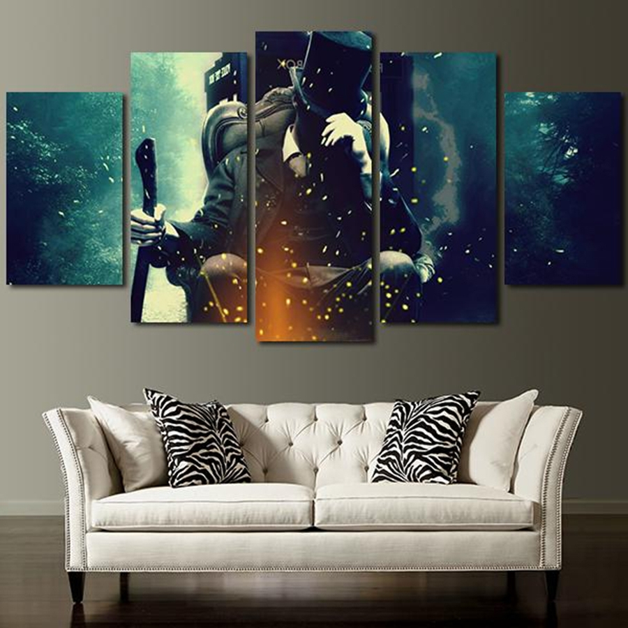 5 Panel Doctor Who Characters Wall Art Canvas In Painting Pertaining To 2018 Doctor Who Wall Art (View 4 of 15)