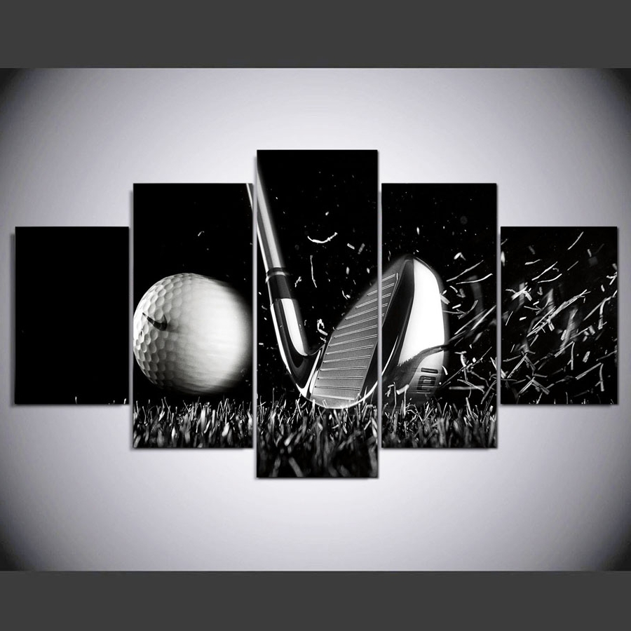 5 Panel Hd Printed Painting Golf Canvas Home Decor Wall Art Picture Pertaining To Popular Golf Canvas Wall Art (View 5 of 15)