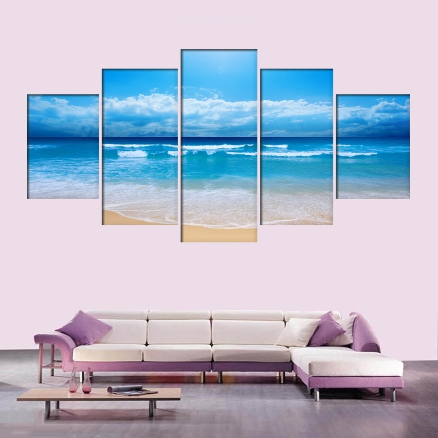5 Panel Ocean Sea Wave Seascape Canvas Oil Painting Beach Wall Art within Well-known Beach Wall Art