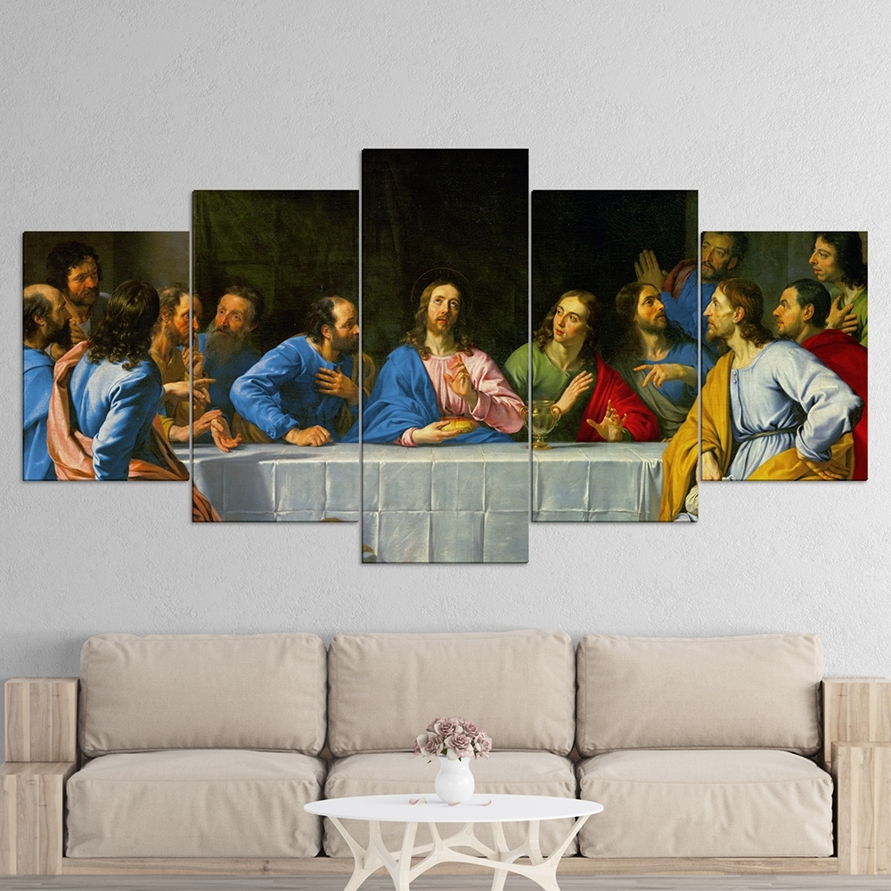 5 Panel Wall Art For Best And Newest The Last Supper 5 Panel Canvas Wall Art – Roma's Memory (View 3 of 15)