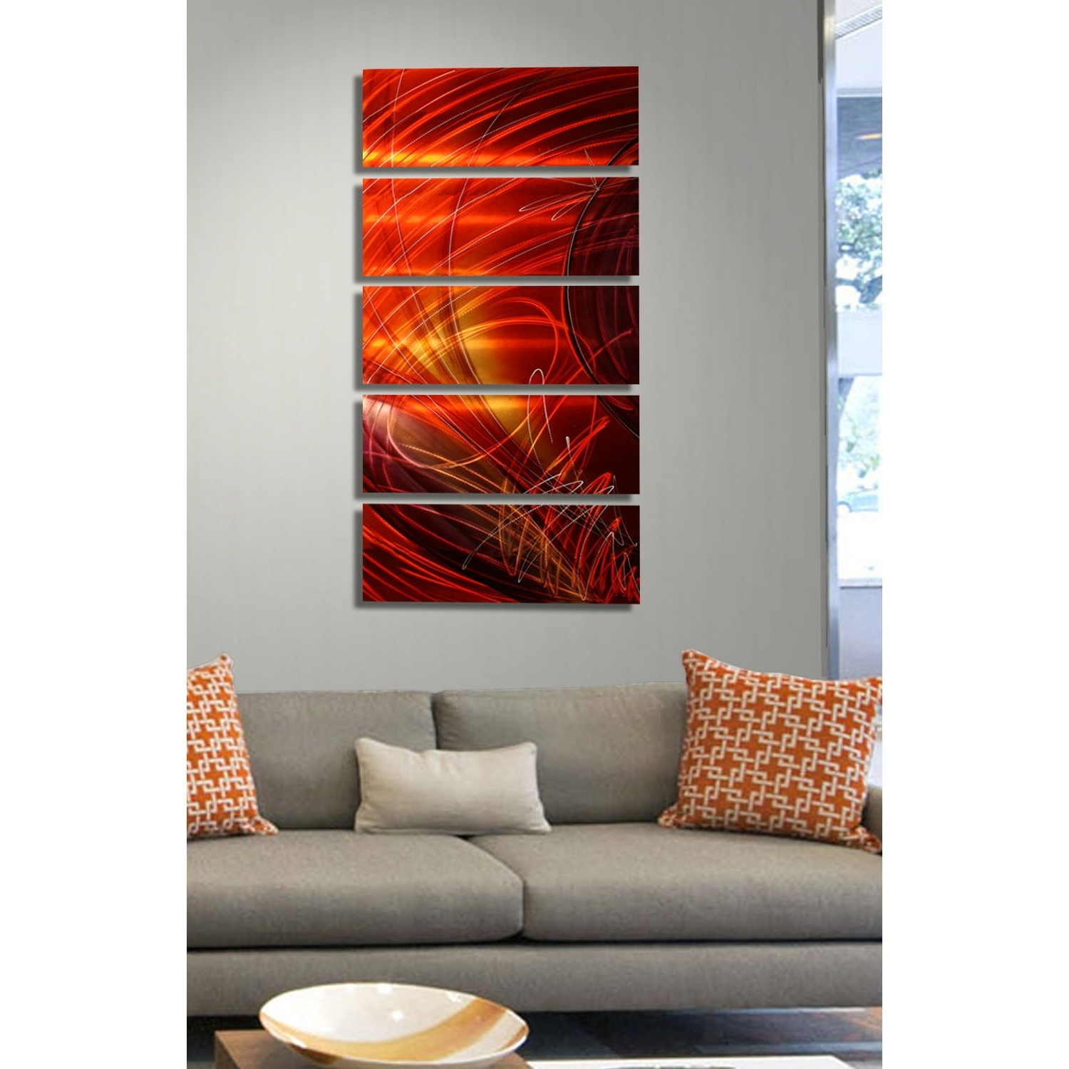 5 Panel Wall Art within Latest Ruby Sky - Red, Gold And Purple Metal Wall Art - 5 Panel Wall Décor