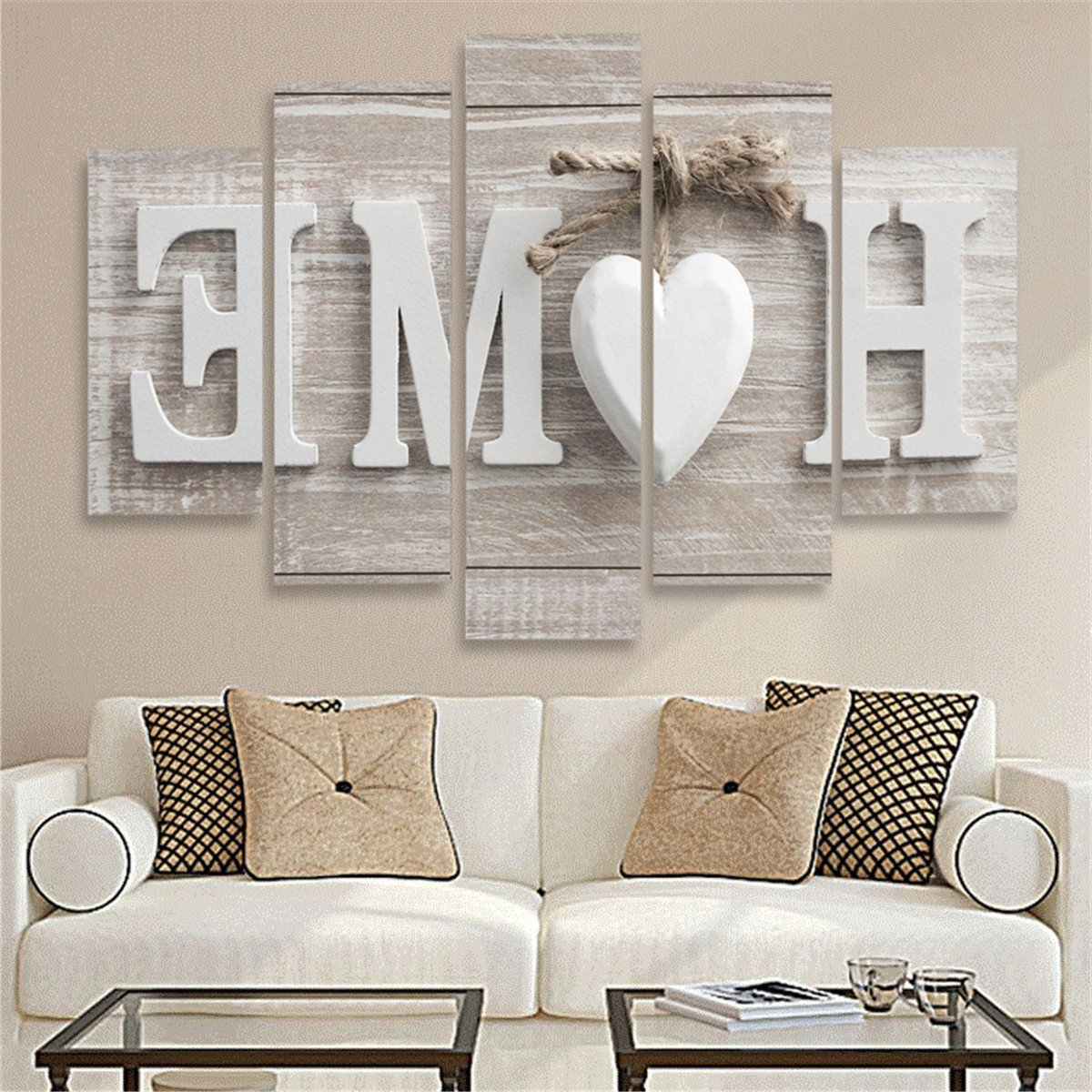 5 Panels Love Home Wall Art Print Pictures Canvas Wall Art Prints Throughout Current Home Wall Art (Gallery 1 of 15)