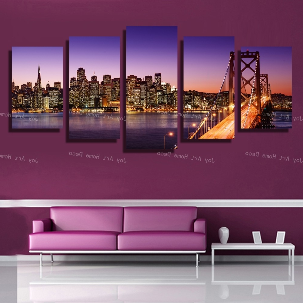 5 Panels San Francisco Bay Bridge Canvas Wall Art Print On Canvas Regarding Most Popular San Francisco Wall Art (View 2 of 15)