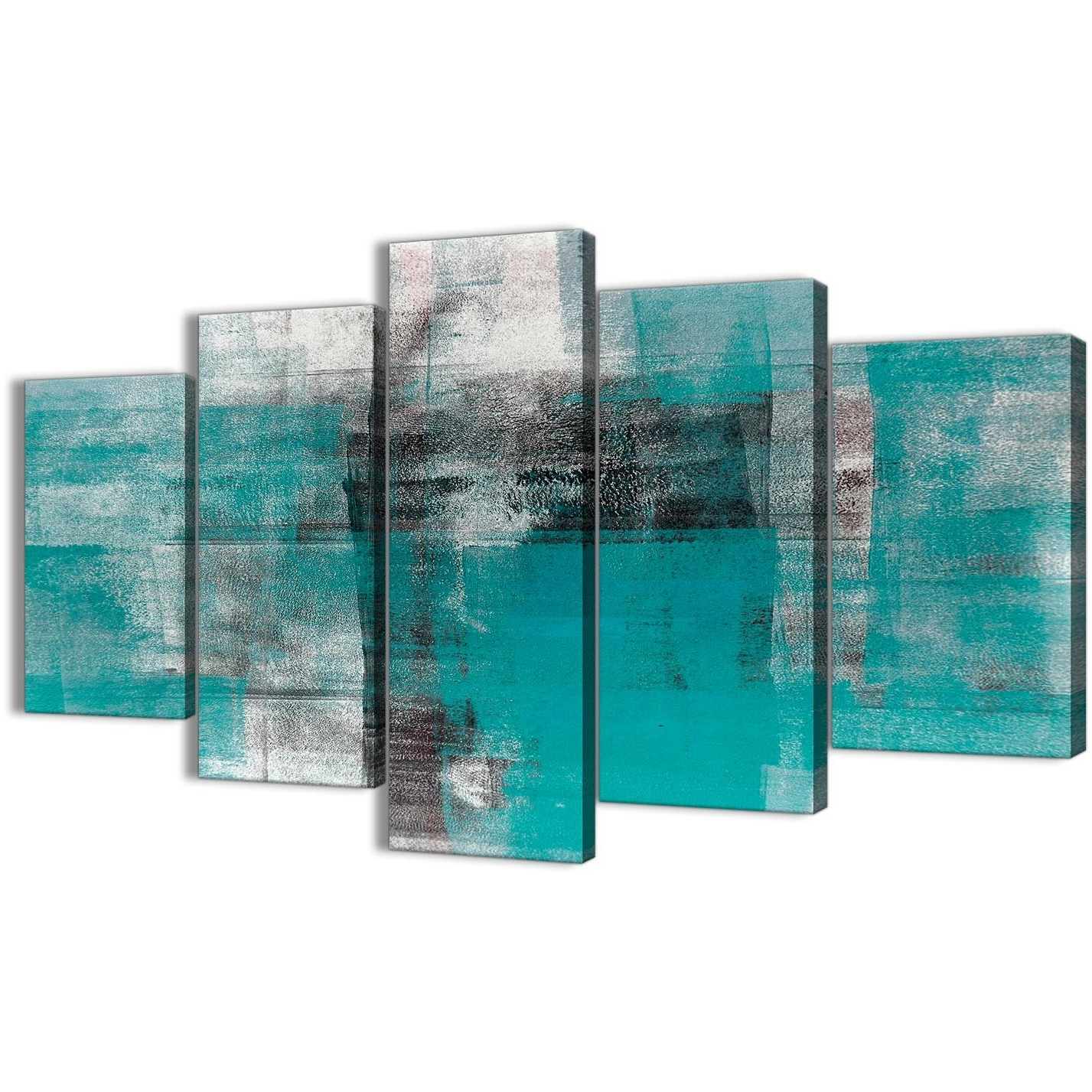 5 Part Teal Black White Painting Abstract Office Canvas Wall Art Intended For Newest Oversized Teal Canvas Wall Art (Gallery 8 of 15)