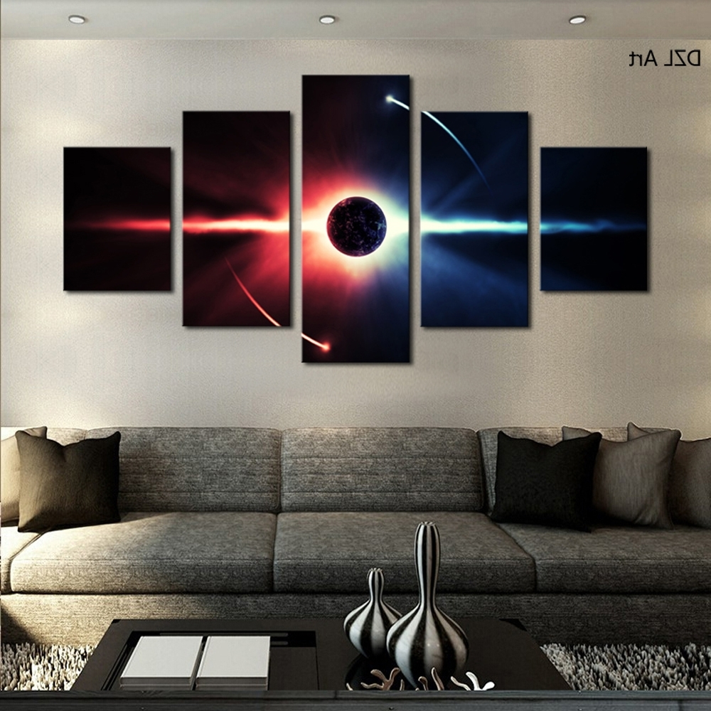 5 Pcs(No Frame) Large Hd Abstrac Planet Canvas Print Painting For In Best And Newest Large Framed Canvas Wall Art (View 2 of 15)