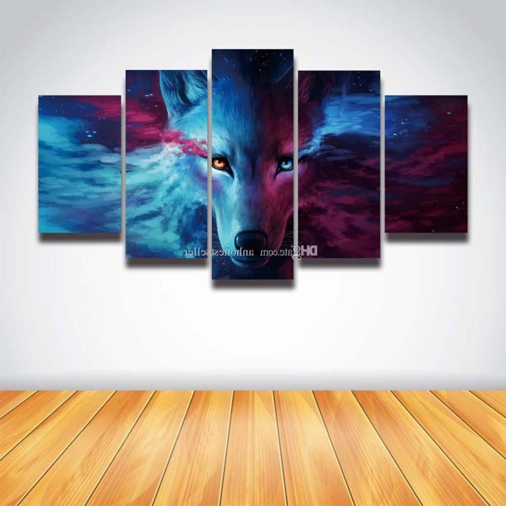 5 Piece Canvas Wall Art Within 2017 2018 5 Panel Canvas Wall Art Anime Wolf Painting Hd Prints Modular (View 13 of 15)