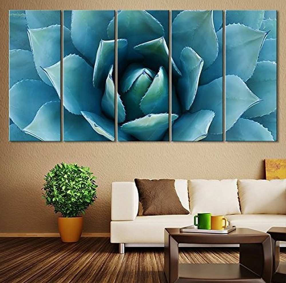5 Piece Large Wall Art Blue Agave Canvas Prints Agave Flower Large Within Well Liked Large Wall Art (View 3 of 15)