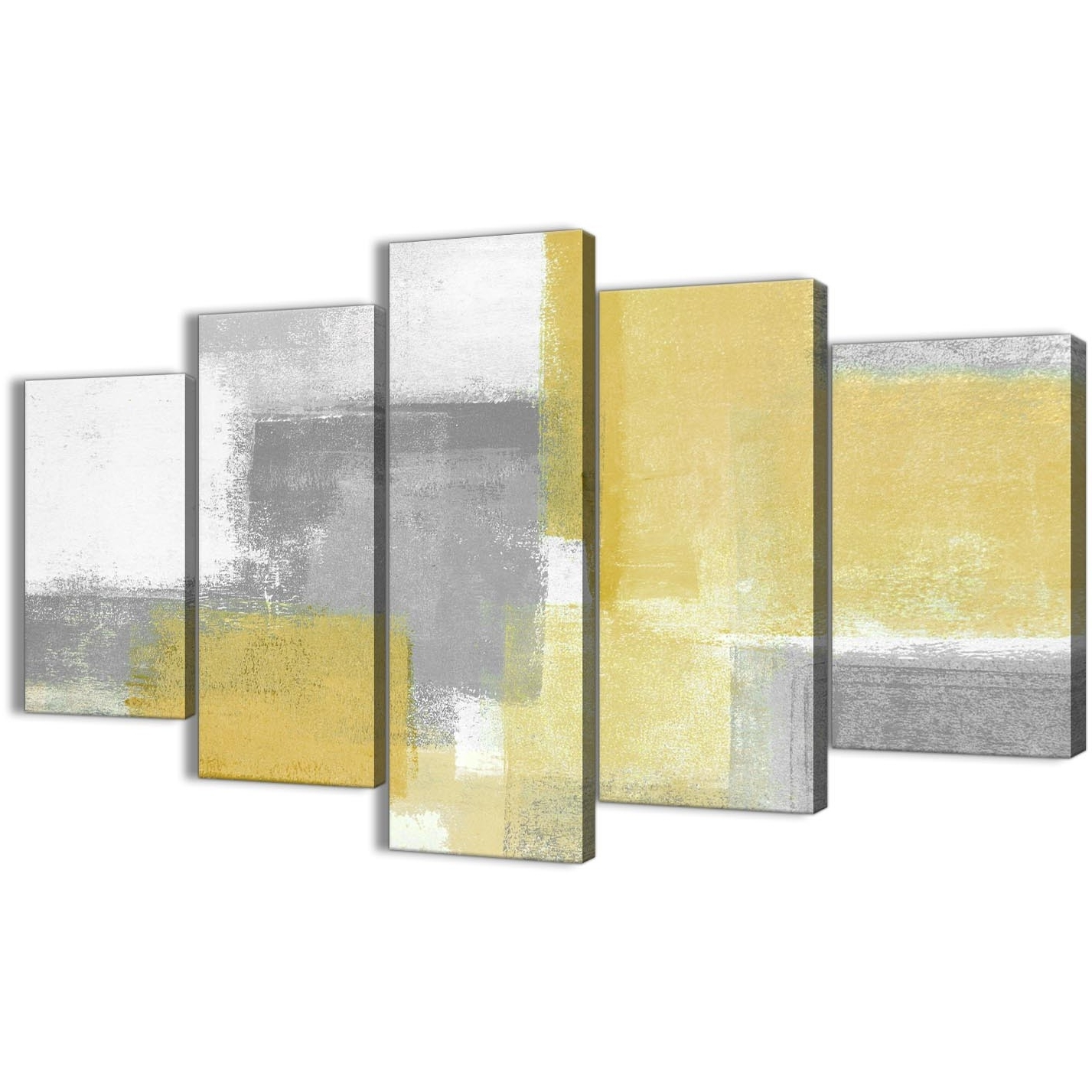 5 Piece Mustard Yellow Grey Abstract Living Room Canvas Wall Art Throughout Most Current Yellow Wall Art (Gallery 10 of 15)