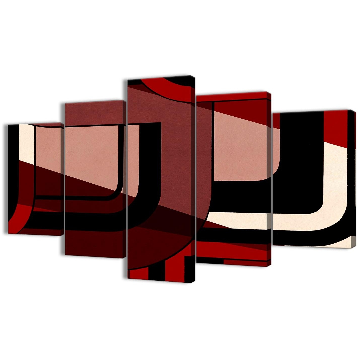 5 Piece Red Black Painting Abstract Living Room Canvas Pictures Regarding Favorite Red And Black Canvas Wall Art (View 14 of 15)