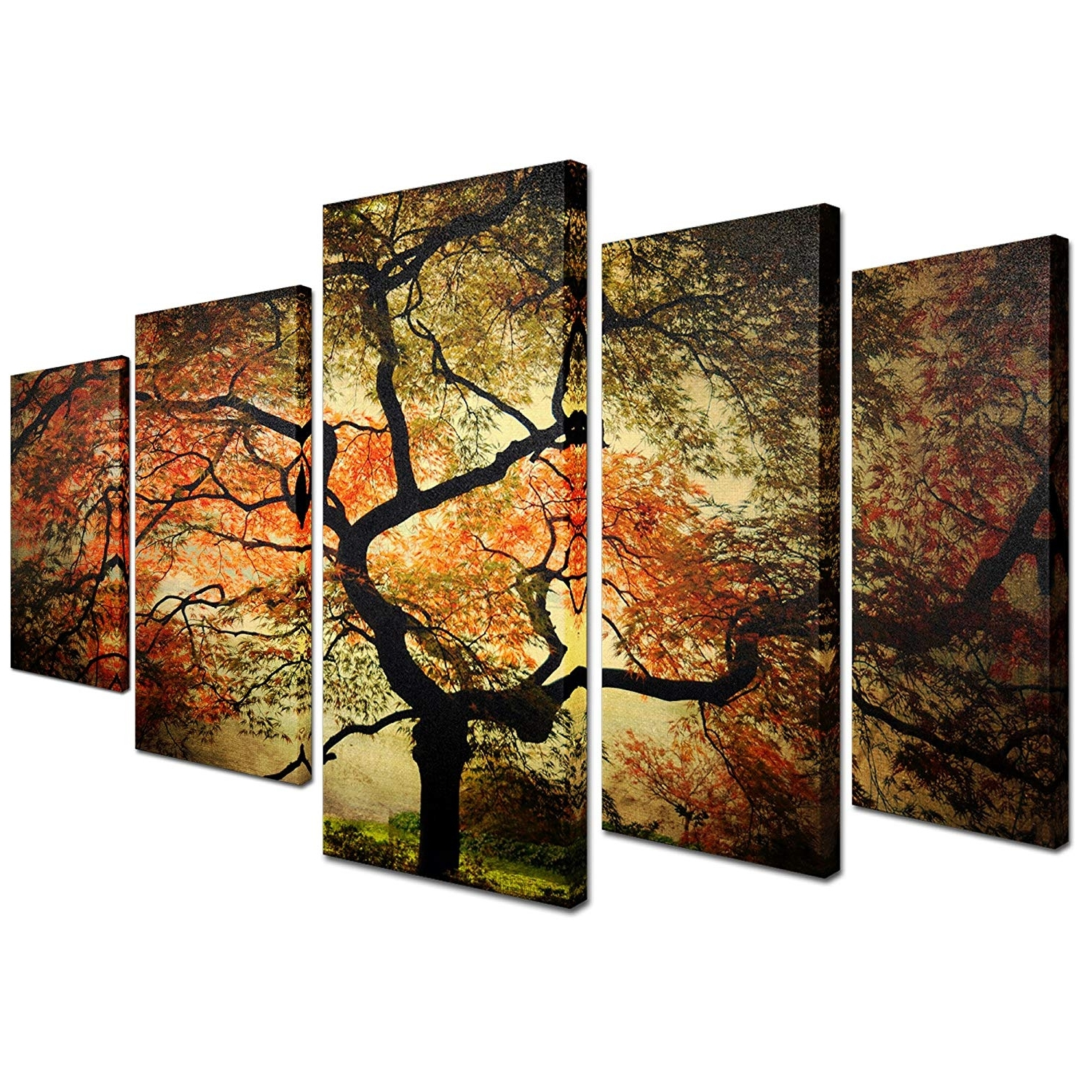 """5 Piece Wall Art Canvas Throughout Most Current Amazon: Trademark Fine Art """"japanese Multi Panel Art Set (Gallery 10 of 15)"""