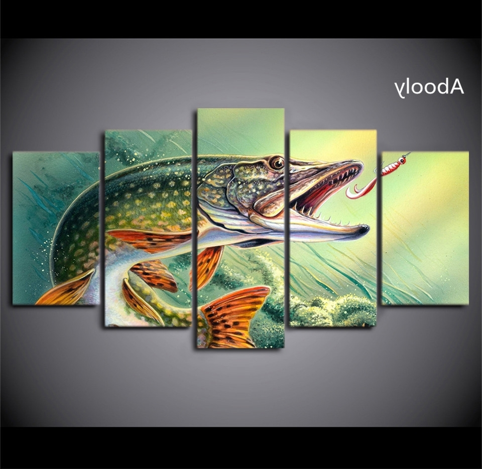5 Piece Wall Art Fishing Hooked Pike Fish Canvas Painting Wall Within Famous Fish Painting Wall Art (Gallery 11 of 15)