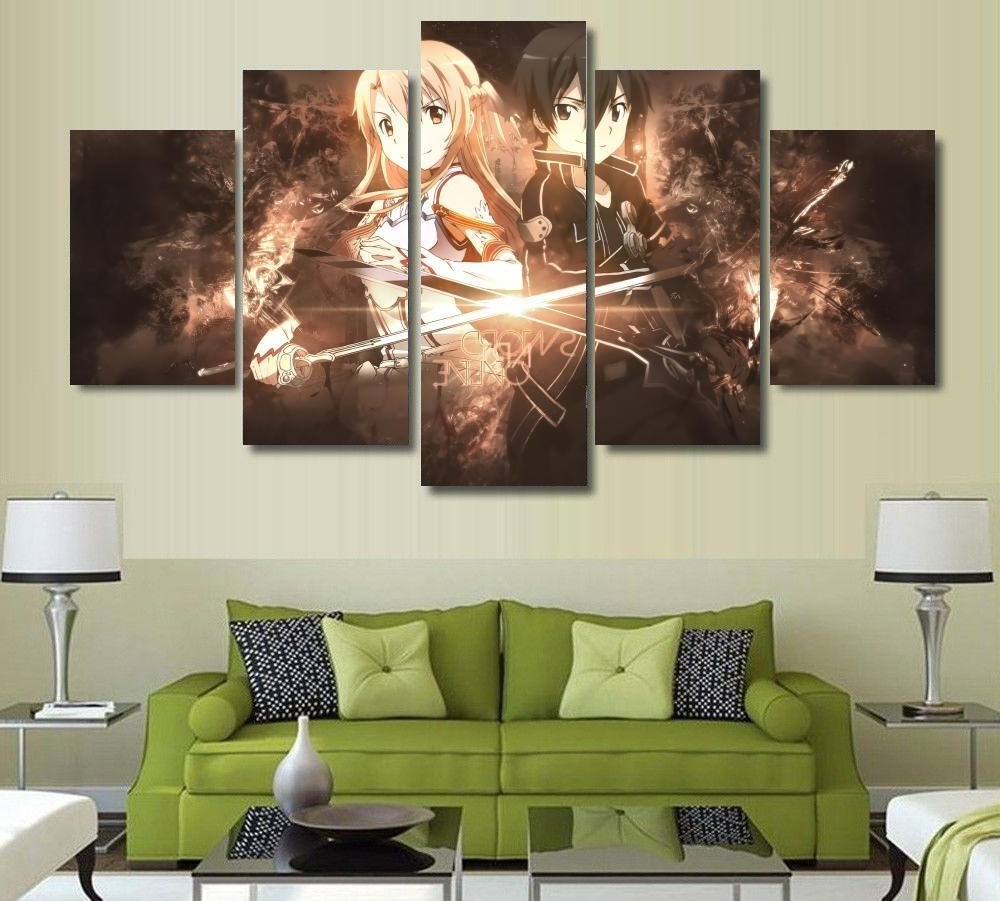 5 Piece Wall Art With Newest 5 Panels Wall Art Anime Sword Art Online Kirito Sao 5 Pieces (View 7 of 15)