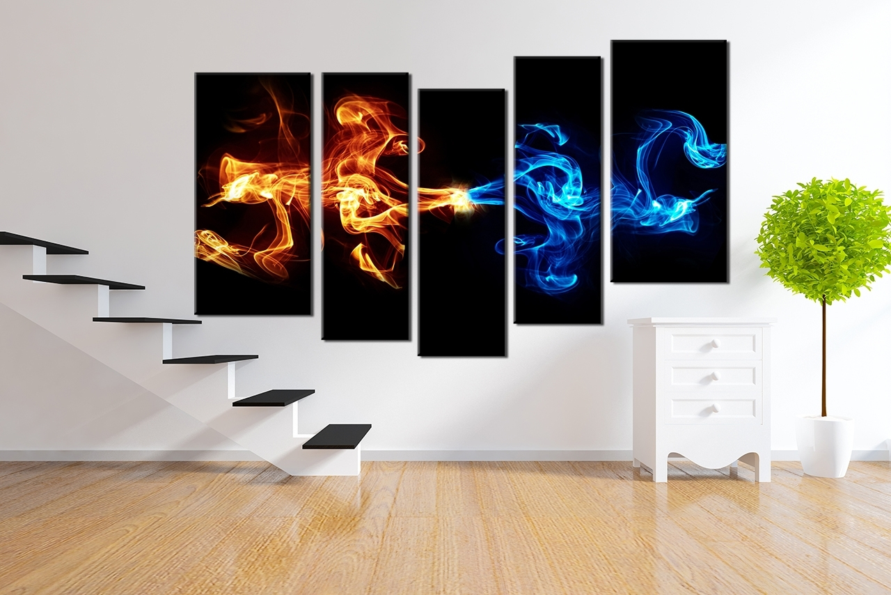 5 Piece Wall Art With Regard To Most Recent 5 Piece Canvas Wall Art, Abstract Blue Yellow Smoke Photo Canvas (Gallery 10 of 15)