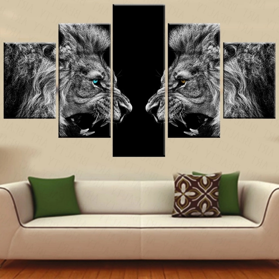 5 Pieces Canvas Prints 2 Lions Animal Blue Eyes Canvas Painting In Trendy 5 Piece Canvas Wall Art (View 10 of 15)