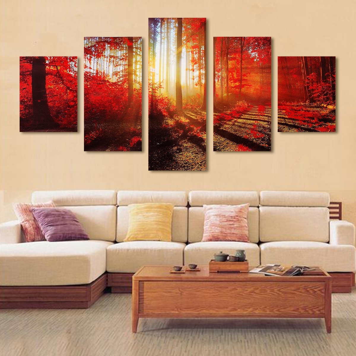 5Pcs Modern Art Oil Paintings Canvas Print Pictures Home Wall Decor Pertaining To Most Recent Wall Art Paintings (View 13 of 15)