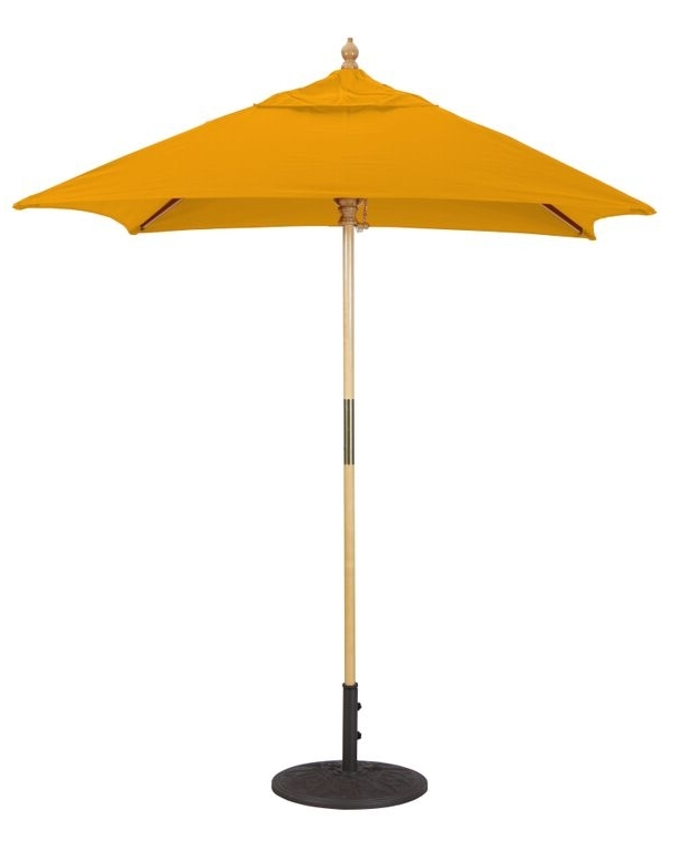 6X6' Wood Square Patio Umbrella Intended For Recent Square Patio Umbrellas (View 9 of 15)