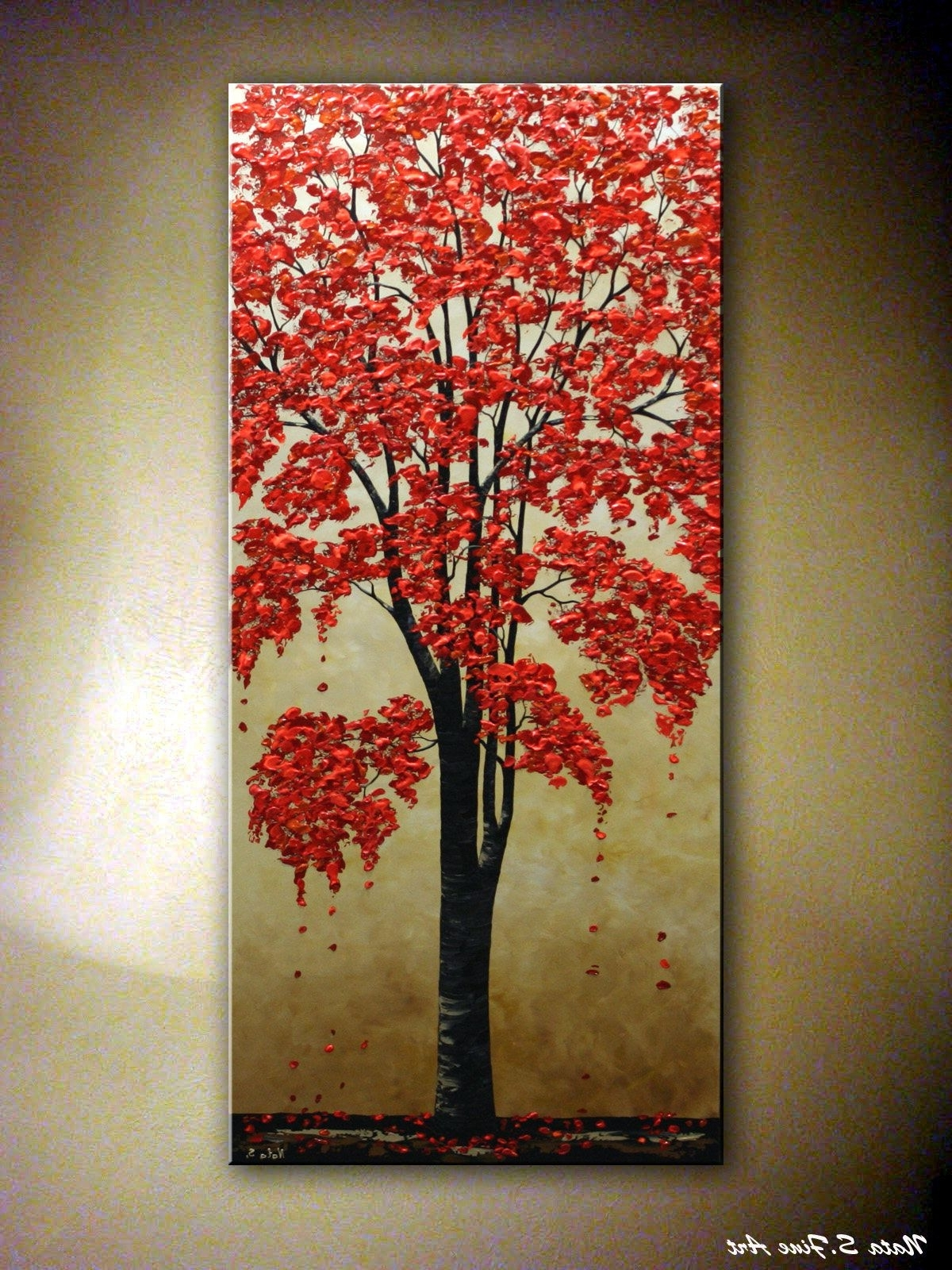 """72"""" Original Blossom Tree Painting, Abstract Art, Textured Tree For Most Recent Vertical Wall Art (View 14 of 15)"""