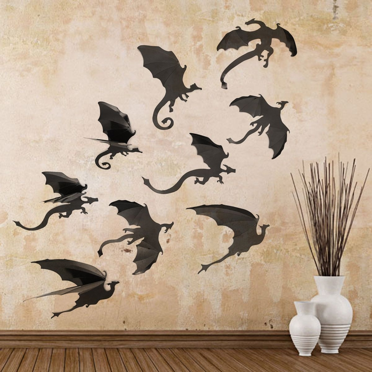 7Pcs/set Halloween Decoration Pvc Wall Stickers 3D Dragon Decorative Pertaining To Best And Newest Dragon Wall Art (View 9 of 15)