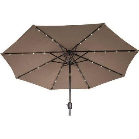 9' Deluxe Solar Powered Led Lighted Patio Umbrella, Tan, Beige within Well known Lighted Patio Umbrellas