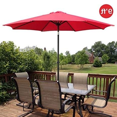 9 Ft Patio Umbrellas Pertaining To Newest Amazon : Gothobby 9Ft Outdoor Patio Umbrella Aluminum W/ Tilt (View 5 of 15)