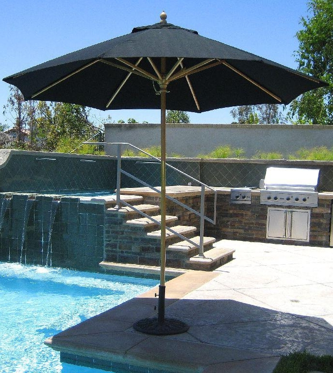9 Ft Patio Umbrellas With Regard To Most Recently Released 9 Ft Wood Market Umbrella – Made In The Shadegaltech –  (View 9 of 15)