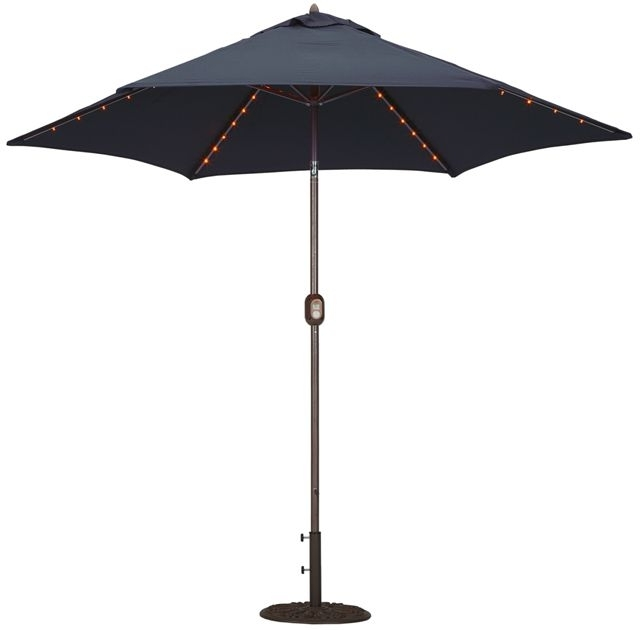 9' Led Lighted Patio Umbrella – Add A Festive Mood To Any Occasion With 2018 Black Patio Umbrellas (View 13 of 15)