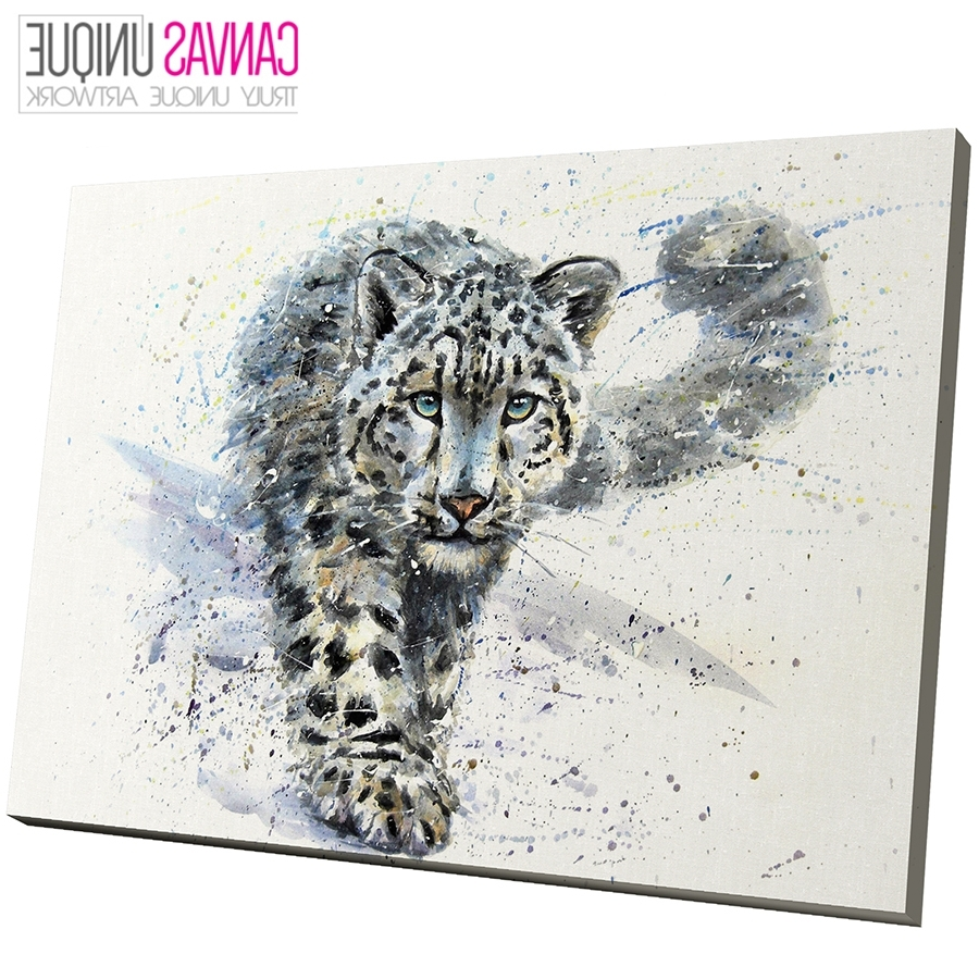 A806 Blue Watercolour Snow Leopard Animal Canvas Wall Art Framed With Popular Animal Canvas Wall Art (View 2 of 15)