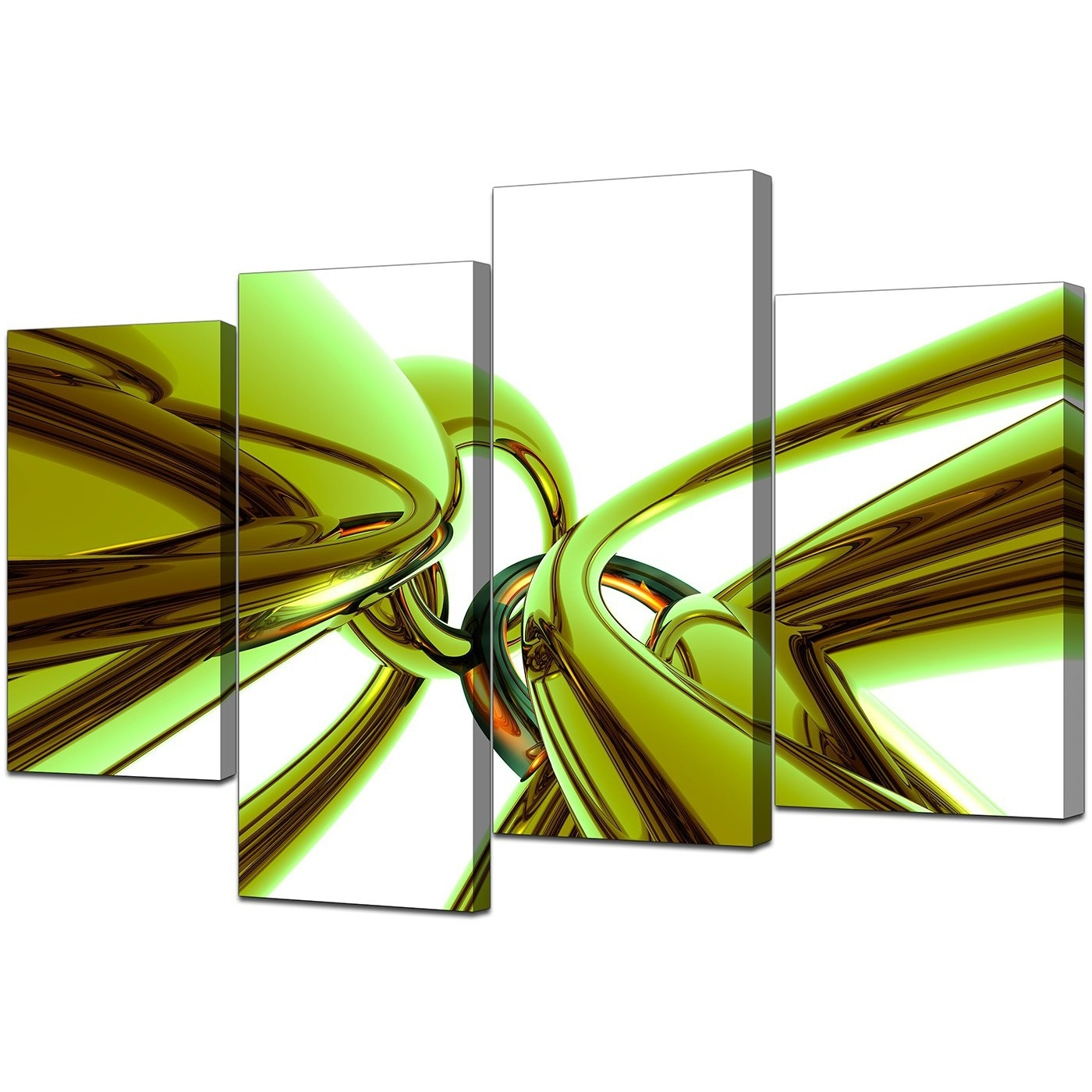Abstract Canvas Wall Art In Green For Your Living Room – Set Of 4 Within Fashionable Green Wall Art (View 4 of 15)