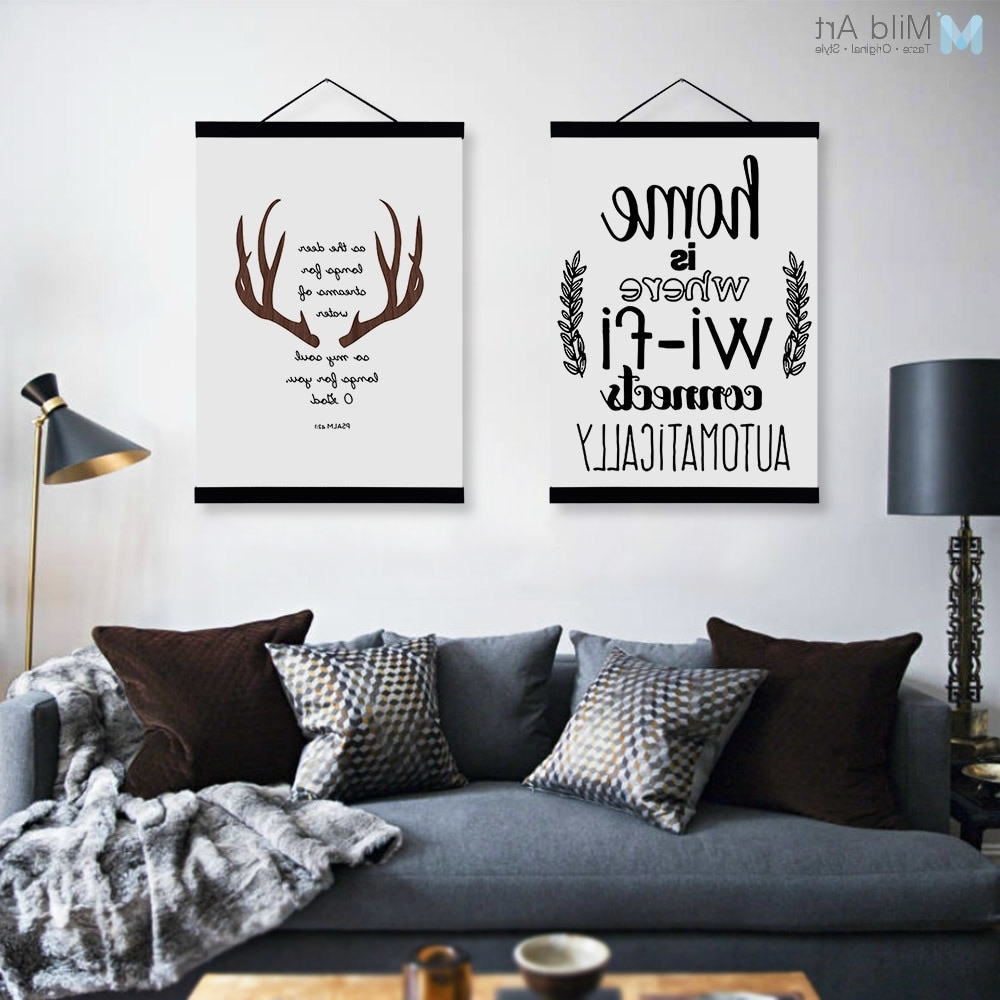 Abstract Deer Head Wifi Quotes Wooden Framed Canvas Paintings Modern For Most Current Big Wall Art (View 2 of 15)