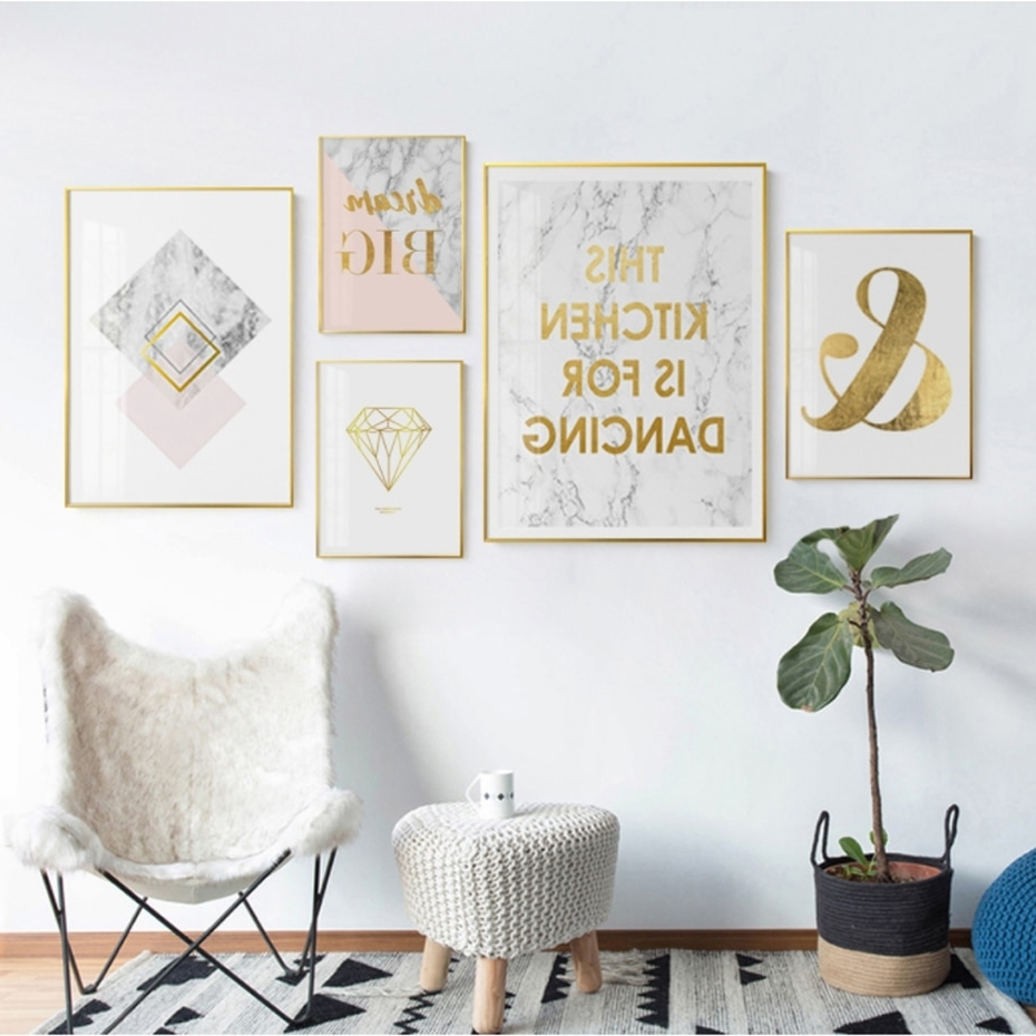 Abstract Gold Canvas Paintings Minimalist Nordic Poster And Print Regarding Preferred Gold Wall Art (View 2 of 15)