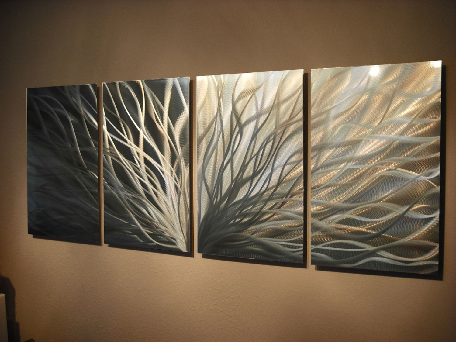 Abstract Metal Wall Art  Radiance Gold Silver  Contemporary Modern Regarding Widely Used Gold Metal Wall Art (View 2 of 15)